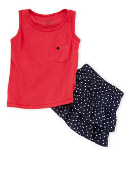 Girls 4-6x 2 Piece Tank Top with Tiered Star Print Skirt Set - 1616060990006