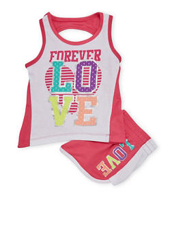 Girls 4-6x Forever Love Graphic Tank Top with Shorts - 1616061950012