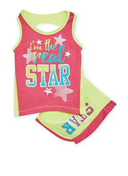 Girls 4-6x Real Star Graphic Tank Top and Shorts Set - 1616061950013