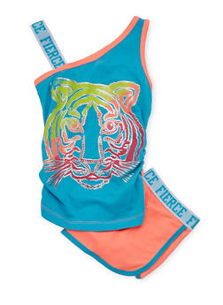 Girls 4-6x Tiger Graphic Tank Top and Shorts Set - 1616061950038