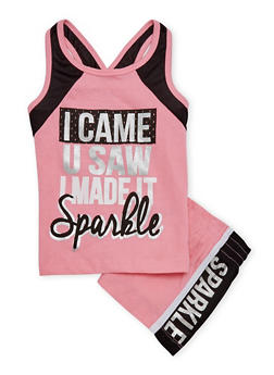 Girls 4-6x Sparkle Graphic Tank Top and Shorts Set - 1616061950043