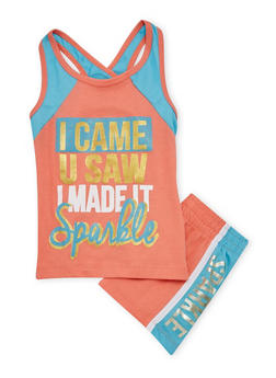 Girls 4-6x Sparkle Graphic Tank Top and Shorts Set - 1616061950044