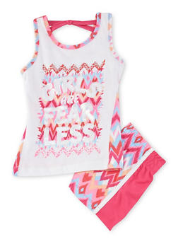 Girls 4-8 Girls are Fearless Graphic Tank Top and Shorts Set - 1616061950046
