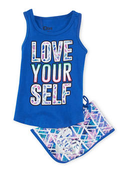 Girls 4-6x Love Yourself Graphic Tank Top with Printed Shorts - 1616061950049