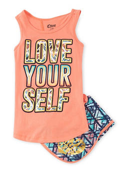 Girls 4-6x Love Yourself Graphic Tank Top with Printed Shorts - 1616061950050