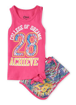 Girls 4-6x Dreams Graphic Tank Top and Shorts Set - 1616061950051