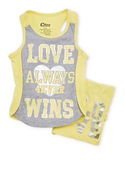 Girls 4-8 Love Wins Graphic Tank Top and Shorts Set - 1616061950053