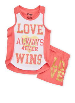 Girls 4-6x Love Wins Graphic Tank Top and Shorts Set - 1616061950054