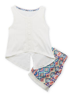 Girls 4-6x Crochet Trimmed Tank Top and Printed Shorts Set - 1616061950108