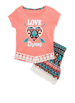 Girls 4-6x Love Dream Graphic Top with Printed Shorts - 1616061950109