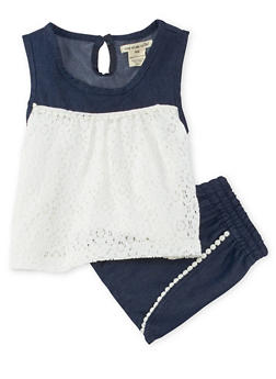 Girls 4-6x Chambray Lace Tank Top and Shorts Set - 1616061950111