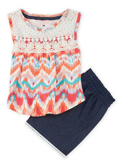 Girls 4-6x Printed Tank Top and Chambray Shorts Set - 1616061950112