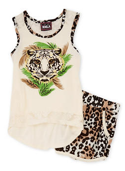Girls 7-16  2 Piece Graphic Tiger Tank Top and Shorts Set - 1617021280004
