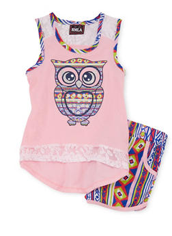Girls 7-16 Owl Graphic Tank Top with Aztec Shorts - 1617021280005