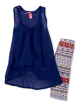 Girls 7-16 Sleeveless Chiffon Top with Printed Bike Shorts - 1617048370001