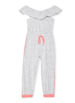 Girls 7-16 Marled Off The Shoulder Sleeveless Jumpsuit - 1617051060097