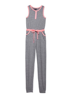 Girls 7-16 Sleeveless Marled Jumpsuit with Contrast Trim - 1617051060099