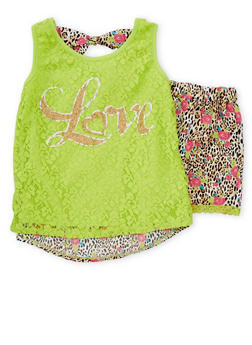 Girls 7-16 Printed Top and Shorts with Lace Overlay and Trim - 1617054730001