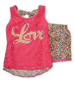 Girls 7-16 Printed Top and Shorts with Lace Overlay and Trim - PINK - 1617054730001