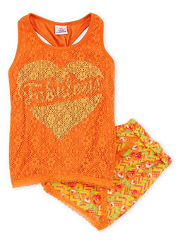 Girls 7-16 Fabulous Graphic Tank Top with Lace Trimmed Floral Shorts - 1617054730003