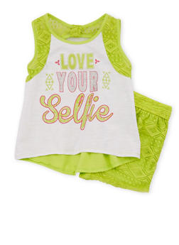 Girls 7-16 Love Your Selfie Graphic Top with Lace Shorts - 1617054730005