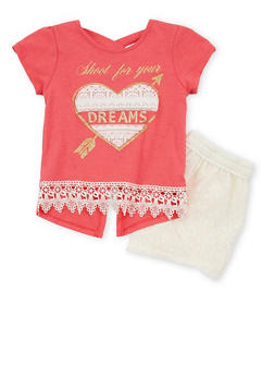 Girls 7-16 Dreams Graphic Top with Lace Shorts - 1617054730006