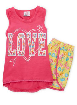 Girls 7-16 Love Graphic Tank Top with Floral Shorts - PINK - 1617054730007