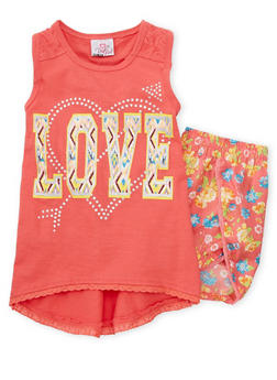 Girls 7-16 Love Graphic Tank Top with Floral Shorts - CORAL - 1617054730007