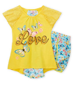 Girls 7-16 Lace Sleeve Graphic Top with Floral Shorts - YELLOW - 1617054730008