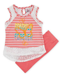 Girls 7-16 Graphic Crochet Trimmed Tank Top with Shorts - 1617054730009