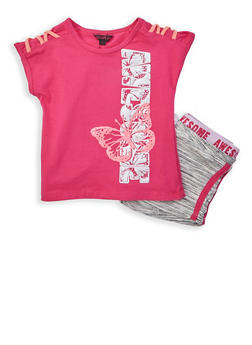 Girls 7-16 Awesome Graphic Top with Shorts - 1617054730030