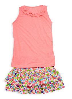 Girls 4T-16 Ruffle Neck Tank Top with Polka Dot Peasant Skirt Set - 1617060990004
