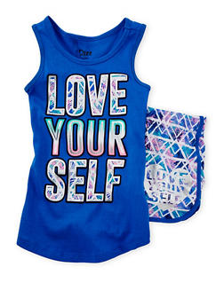 Girls 7-16 Love Yourself Graphic Tank Top and Shorts Set - 1617061950001