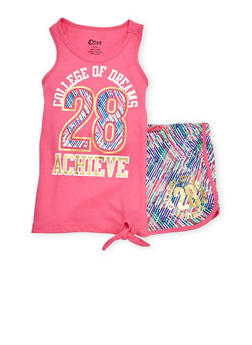 Girls 7-16 Achieve Graphic Tank Top and Shorts Set - 1617061950003