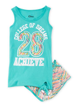Girls 7-16 Dreams Graphic Tank Top with Printed Shorts - 1617061950004