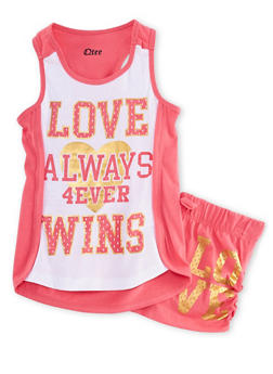 Girls 7-16 Love Wins Graphic Tank Top and Shorts Set - 1617061950033
