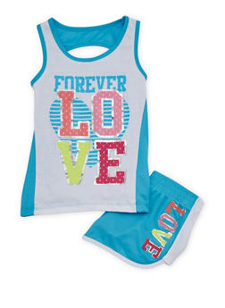 Girls 7-16 Forever Love Graphic Tank Top and Shorts Set - 1617061950036