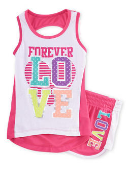 Girls 7-16 Forever Love Graphic Tank Top and Shorts Set - 1617061950037