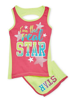Girls 7-16 Real Star Graphic Tank Top and Shorts Set - 1617061950038
