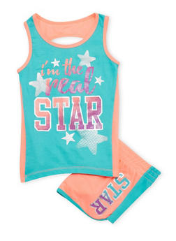 Girls 7-16 Real Star Graphic Tank Top and Shorts Set - 1617061950039