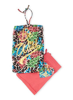 Girls 7-16 Be Wild Halter Top and Cuffed Shorts Set - 1617061950041