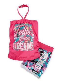 Girls 4-12 Follow Your Dreams Graphic Halter Top with Shorts - 1617061950042