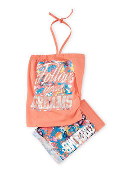 Girls 7-16 Follow Your Dreams Graphic Halter Top and Shorts Set - 1617061950043