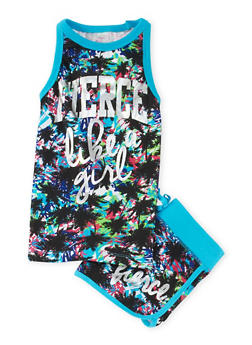 Girls 7-16 Fierce Graphic Tank Top and Shorts Set - 1617061950045