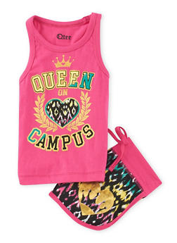 Girls 7-16 Queen on Campus Tank Top with Printed Shorts - 1617061950047