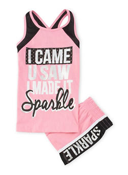 Girls 7-16 I Came U Saw Graphic Tank Top and Shorts Set - 1617061950054