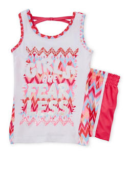Girls 7-16 Girls are Fearless Graphic Tank Top with Shorts - 1617061950057