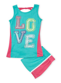 Girls 7-16 Love Graphic Tank Top and Shorts Set - 1617061950059
