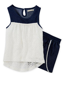Girls 7-16 Denim Lace Top with Crochet Trim Shorts - 1617061950065