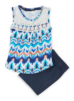 Girls 7-16 Printed Tank Top and Chambray Shorts Set - 1617061950066